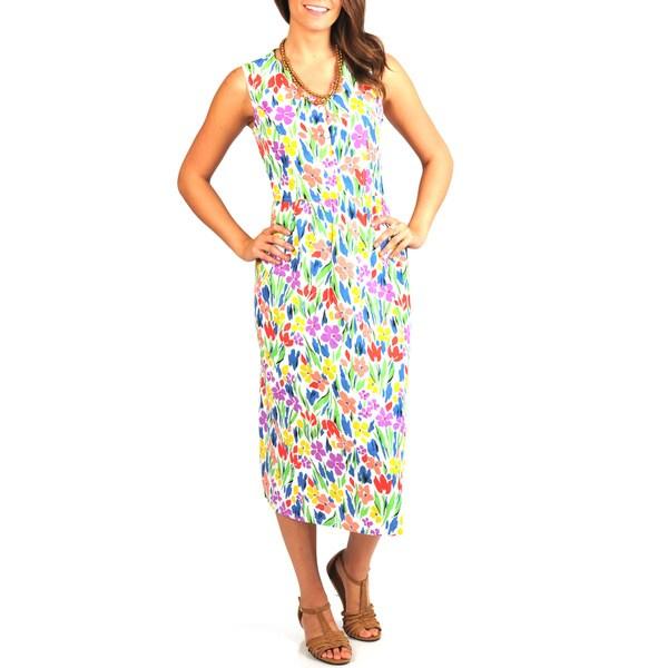La Cera Women's Floral-Print Scallop V-Neck Empire-Waist Cotton Dress