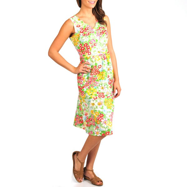 La Cera Women's Floral Print Scallop V-Neck Empire Waist Dress