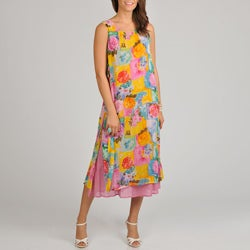 La Cera Women's Floral-Print Side-Button Layered Rayon Dress