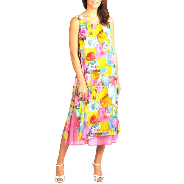 La Cera Women's Floral-Print Side-Button Layered Rayon Dress