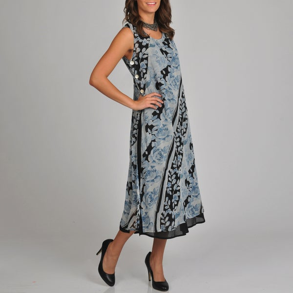 La Cera Women's Floral Print Side Button Layered Dress