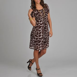 La Cera Women's Giraffe Print Short Sleeve Dress