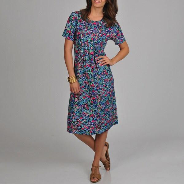 La Cera Women's Floral Print Pleated Front Dress