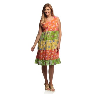 La Cera Women's Plus Size Floral Print Tiered Dress