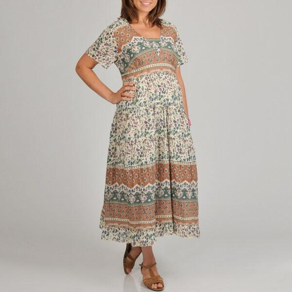 La Cera Women's Plus Size Floral Print Tiered Long Dress