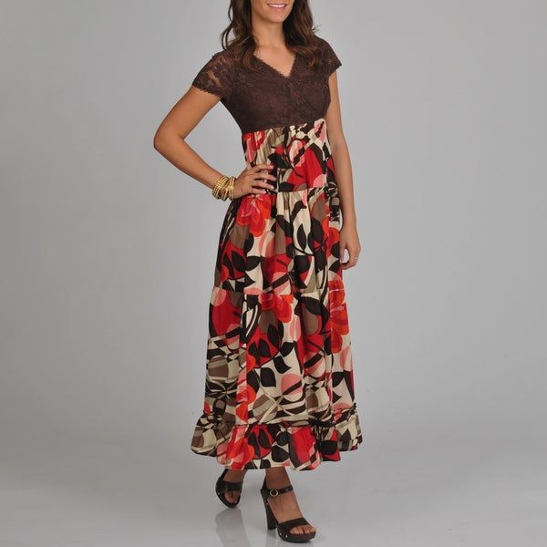 La Cera Women's Solid Lace Bodice with Floral Print Bottom Maxi Dress
