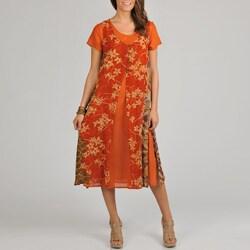 La Cera Women's Bamboo Print Layered Georgette Dress