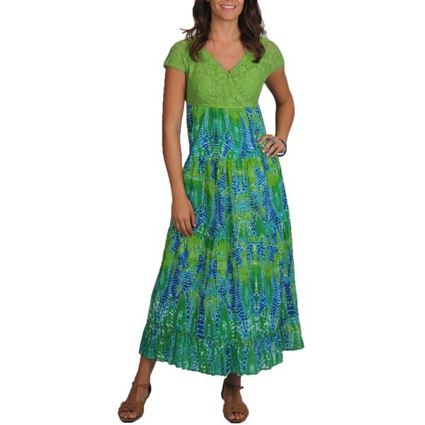 La Cera Women's Solid Lace Printed Maxi Dress