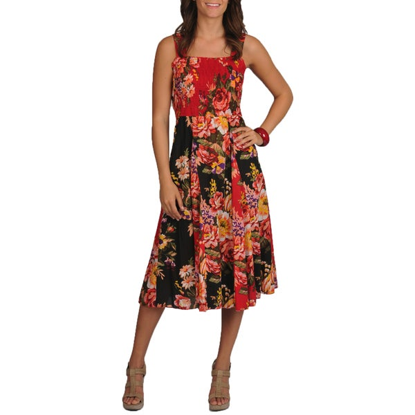 La Cera Women's Floral Print Smocked Top Maxi Dress