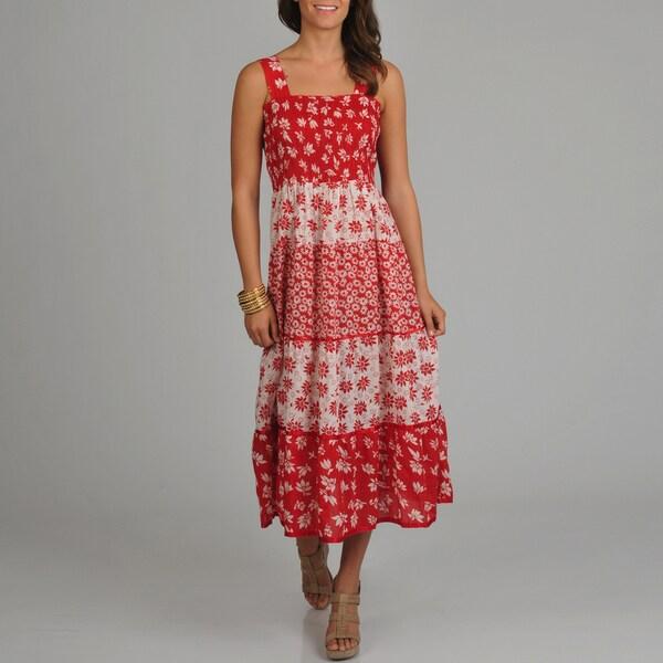 La Cera Women's Floral Print Smocked Top Tiered Maxi Dress
