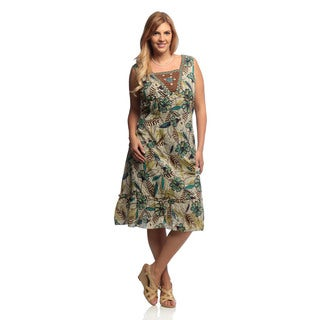 La Cera Women's Plus Floral Print Sleeveless Embroidered and Beading Detail Dress