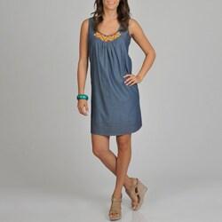 La Cera Women's Multi Bead Detail Blue Sun Dress