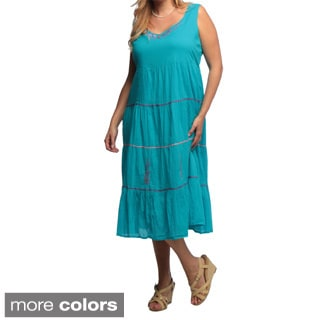 La Cera Women's Plus Size U-Neck Embroidered Ric Rac Tier Dress