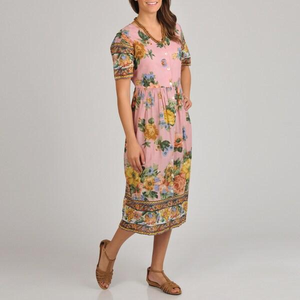 La Cera Women's Floral Print Short Sleeve Button Front Dress