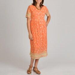La Cera Women's Plus Floral Print Button Front Dress