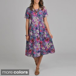 La Cera Women's Floral-print Short-sleeve Button-front Dress