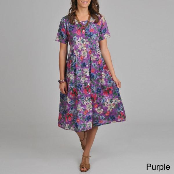 La Cera Women's Floral-print Short-sleeve Button-front Dress