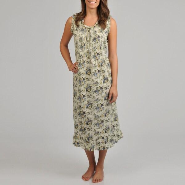 La Cera Women's Blue Floral Sleeveless Night Gown