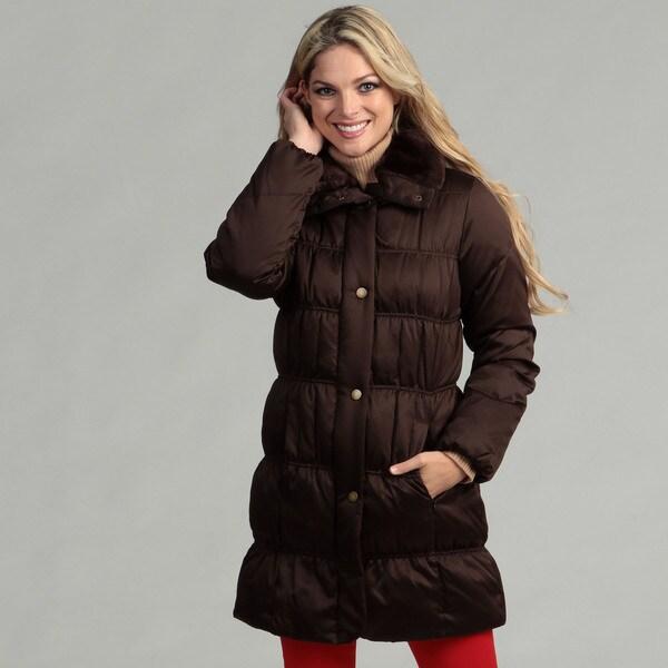 Larry Levine Women's Down Jacket With Faux Fur Trim Collar