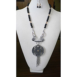 """""""Ebony and Topaz"""" Necklace and Earring Set"""