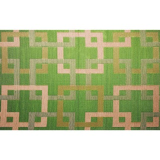 Squares Green Indoor/ Outdoor Reversible Area Mat (4' x 6')