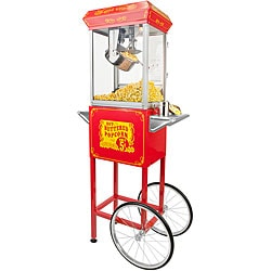 FunTime Full-size Carnival Style 8-oz Hot Oil Popcorn Machine with Red/ Silver Cart