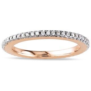 Miadora 14k Pink Gold 1/4ct TDW Certified Diamond Wedding Band (G-H, SI1-SI2) with Bonus Earrings