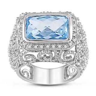 Miadora 14k White Gold 7ct TGW Blue Topaz 1/10ct TDW Diamond Ring (G-H, SI1-SI2)