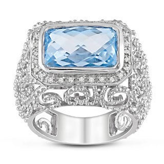 Miadora 14k White Gold 7ct TGW Blue Topaz 1/10ct TDW Diamond Ring (G-H, SI1-SI2) with Bonus Earrings