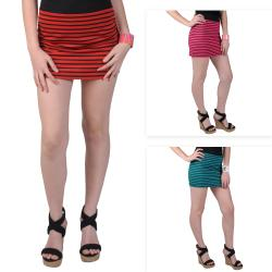 Journee Collection Juniors Zippered Striped Mini Skirt