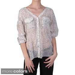 Journee Collection Juniors Lightweight Button-up Sheer Blouse