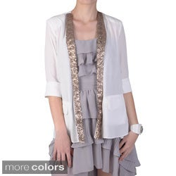 Journee Collection Juniors Sequin Detail Open Front Jacket