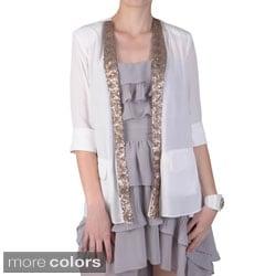 Journee Collection Juniors Sequin Detail Open Front Jacket
