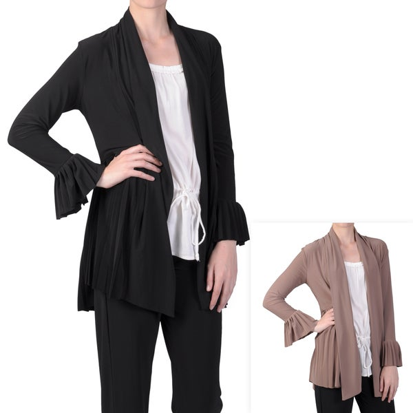 Tressa Designs Women's Pleated Trim Long Sleeve Jacket