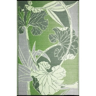 b.b.begonia Blossom Reversible Design Green and Grey Outdoor Area Rug (4' x 6')