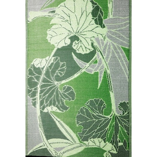 Blossom Green and Grey Indoor/ Outdoor Mat (4' x 6')