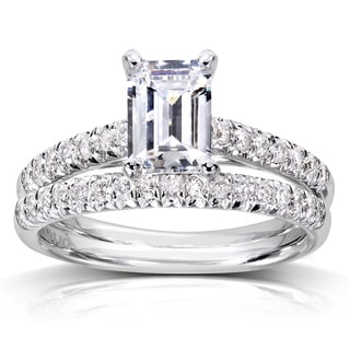Annello 14k White Gold 1 1/3ct TDW Emerald Cut Diamond Solitaire Bridal Set (H-I, SI1-SI2) with Bonus Item