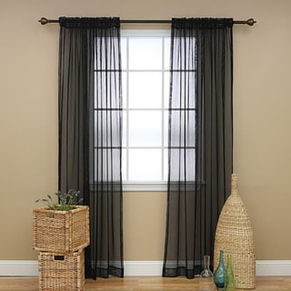 Aurora Home Mesh Rod Pocket 84-inch Curtain Panel Pair