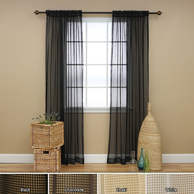 Mesh Curtain Panels : Mesh rod pocket inch curtain panel pair overstock