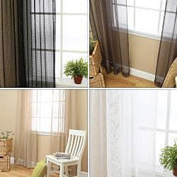 Mesh Rod Pocket 84-inch Curtain Panel Pair