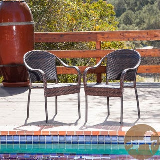 Christopher Knight Home Fully Assembled Sunset Outdoor Tight-weave Wicker Chair (Set of Two)