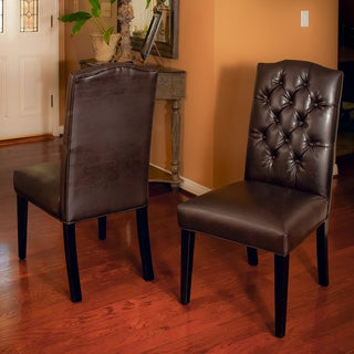 Christopher Knight Home Crown Top Leather Tufted Dining Chairs (Set of 2)