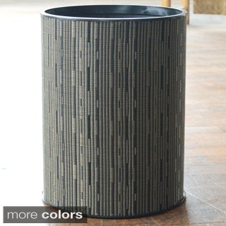 1530 LaMont Home Caprina Contemporary Round Black Woven Wastebasket