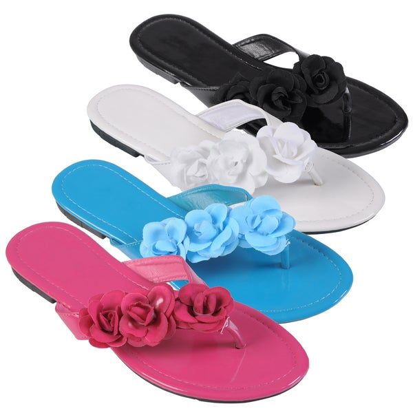 Journee Collection Women's Flower Accent Flip Flops