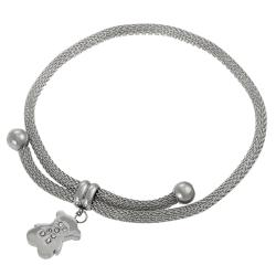 Journee Collection Steel Cubic Zirconia Bear Adjustable Bracelet
