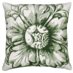 Green Rosette Needlepoint Decorative Pillow