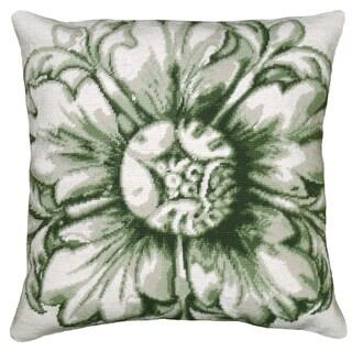 Green Rosette Needlepoint Decorative Pillow