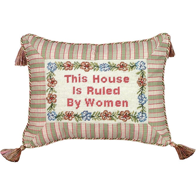 'House Ruled by Women...' Petit-point Decorative Pillow