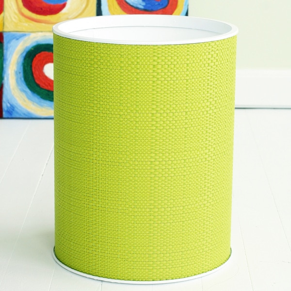 1530 LaMont Home Brights Round Lime Woven PVC/Polyester Wastebasket