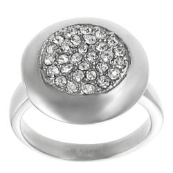 Journee Collection Stainless Steel Pave-set Cubic Zirconia Ring